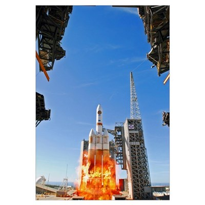 A Delta IV Heavy Launch Vehicle launches from Vand Canvas Art